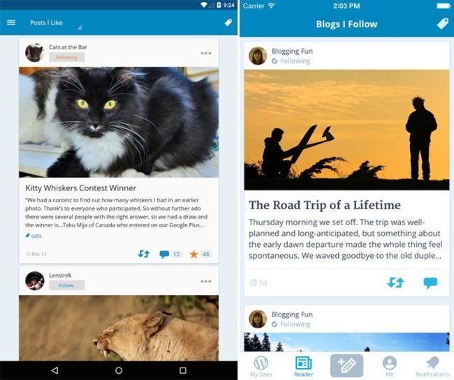 Screenshots der offiziellen WordPress-Apps für Android (links) und iOS (rechts).